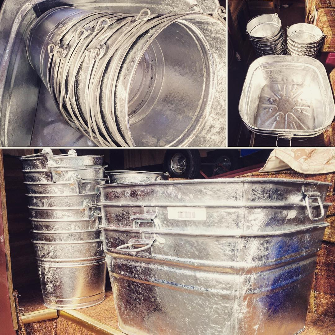 A bounty of #metal #galvinized #tubs from #princessauto #sidewalksale. Hmmm...#drinkbuckets for the next party? #partyrentals #eventrentals #weddingdecor #weddingrentals #icebucket